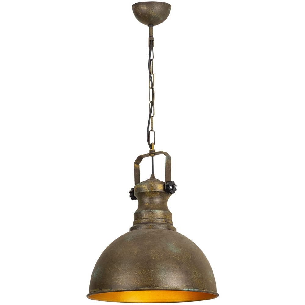Industriële vintage hanglamp - koper met goud 40 cm - Montero - vooraanzicht
