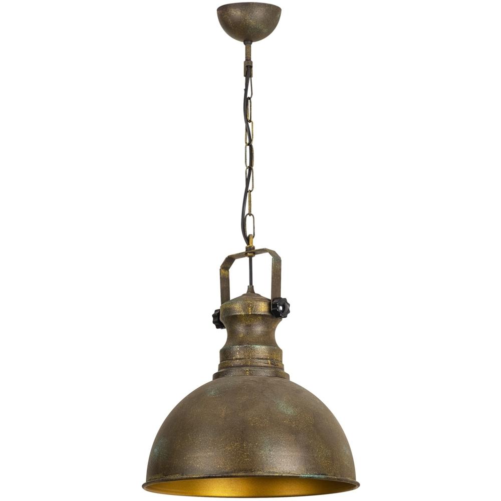 Industriële vintage hanglamp - koper met goud 40 cm - Montero - zijaanzicht
