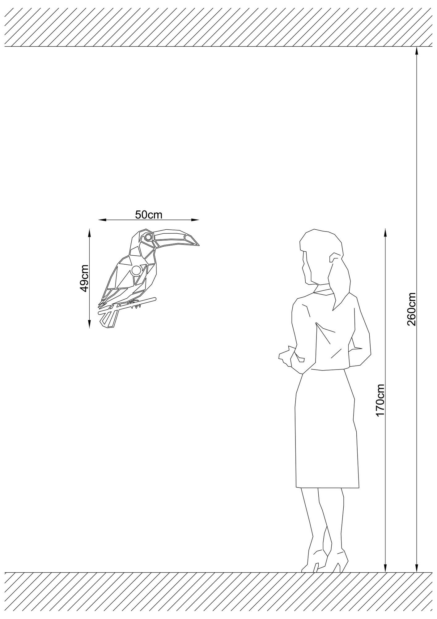 Industriële wanddecoratie dieren lamp - E27 fitting - Tukan - dimbaar - afmetingen
