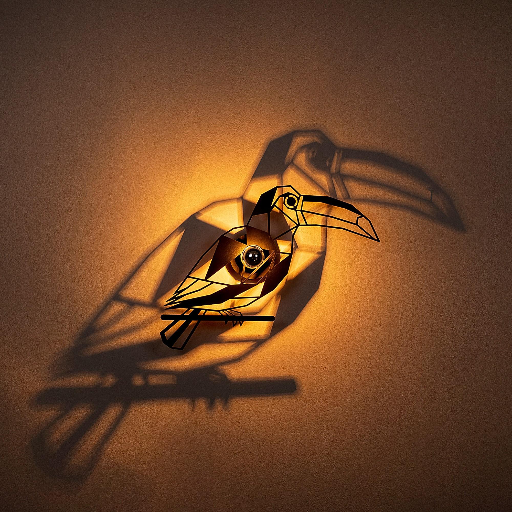 Industriële wanddecoratie dieren lamp - E27 fitting - Tukan - dimbaar - sfeerfoto 1
