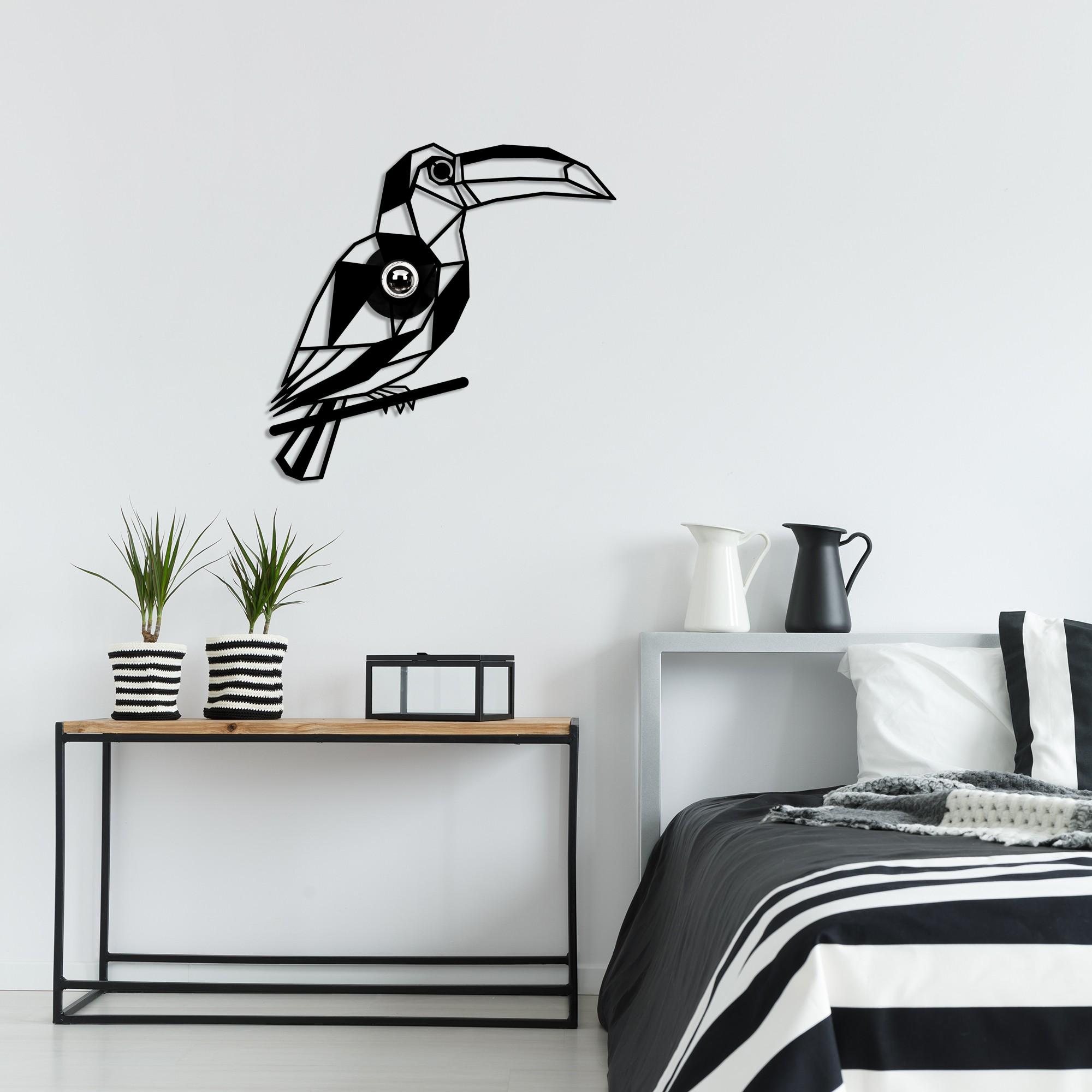 Industriële wanddecoratie dieren lamp - E27 fitting - Tukan - dimbaar - sfeerfoto 2