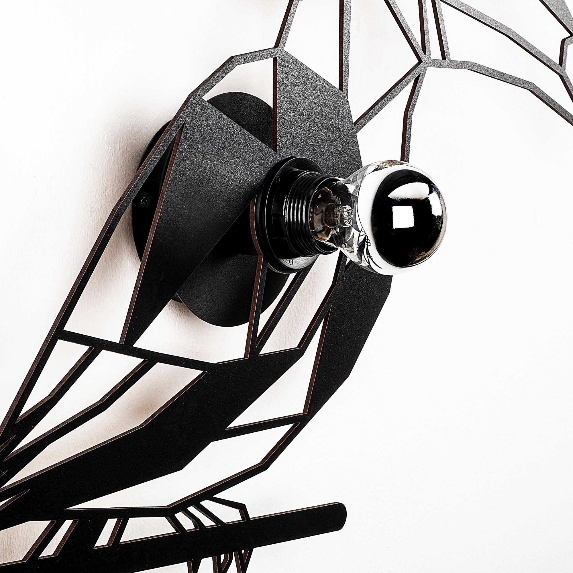 Industriële wanddecoratie dieren lamp - E27 fitting - Tukan - dimbaar - zijaanzicht