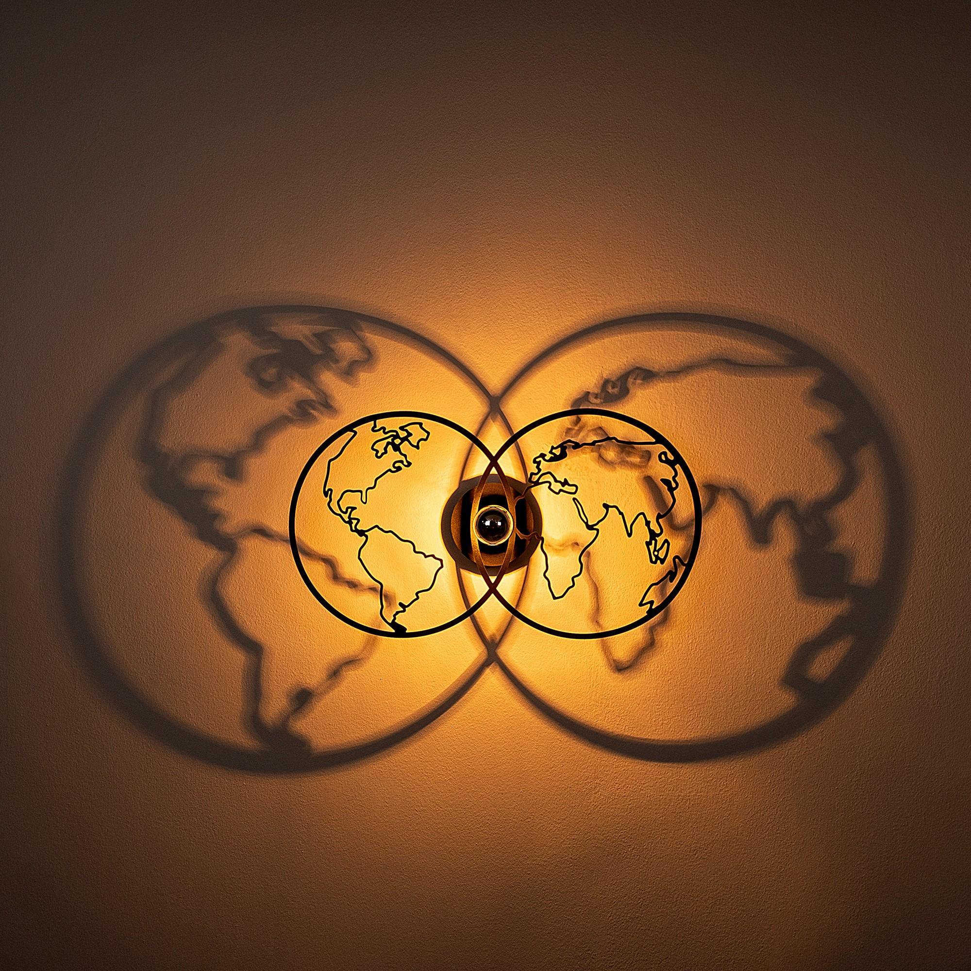 Industriële wanddecoratie lamp - E27 fitting - Wereldbol - dimbaar - E27 fitting - sfeerfoto 2