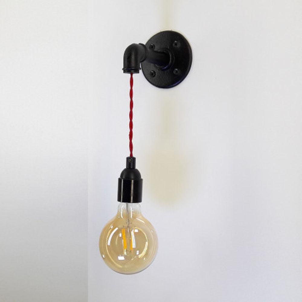 LED wandlamp met E27 fitting - grote fitting - zwart armatuur - zijaanzicht