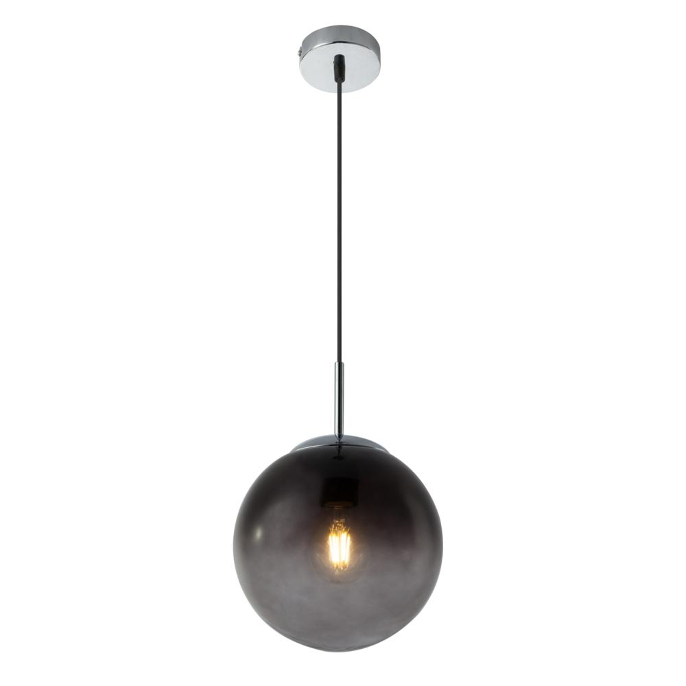 LED hanglamp E27 smoke glas KIngston - in hoogte instelbaar - vooraanzicht lamp aan