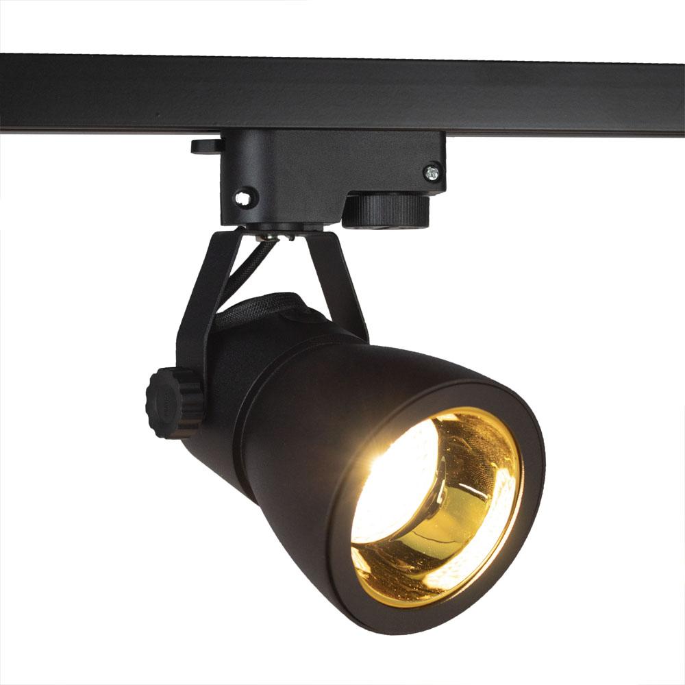 LED 1-fase railspot zwart goud gu10 fitting - spot aan