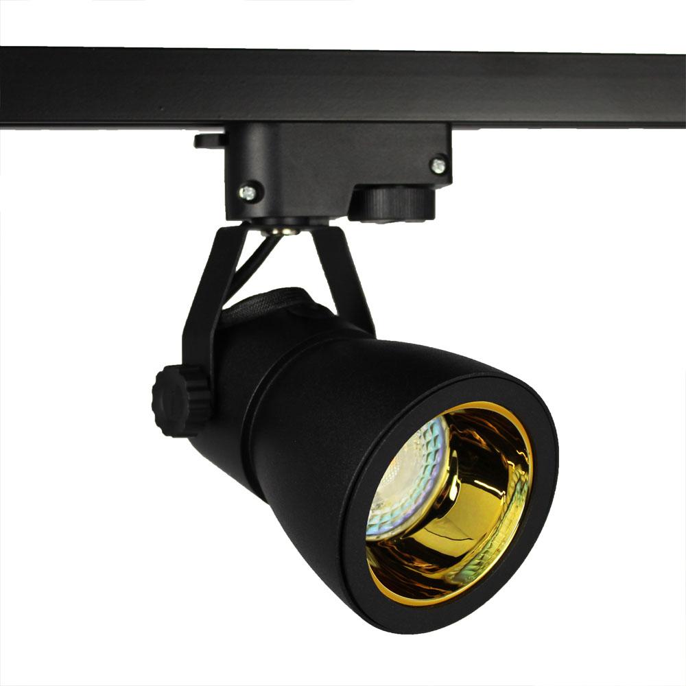 LED 1-fase railspot zwart goud gu10 fitting - spot uit