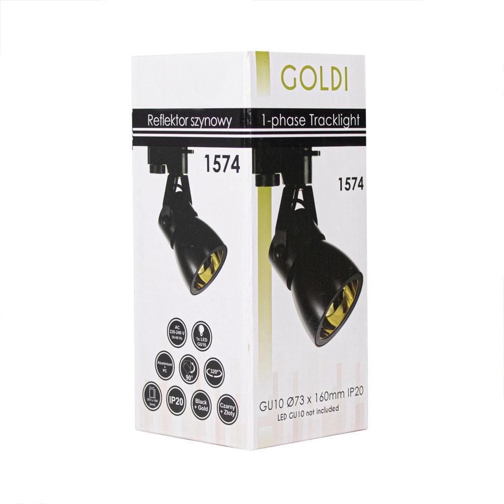 LED 1-fase railspot zwart goud gu10 fitting - verpakking