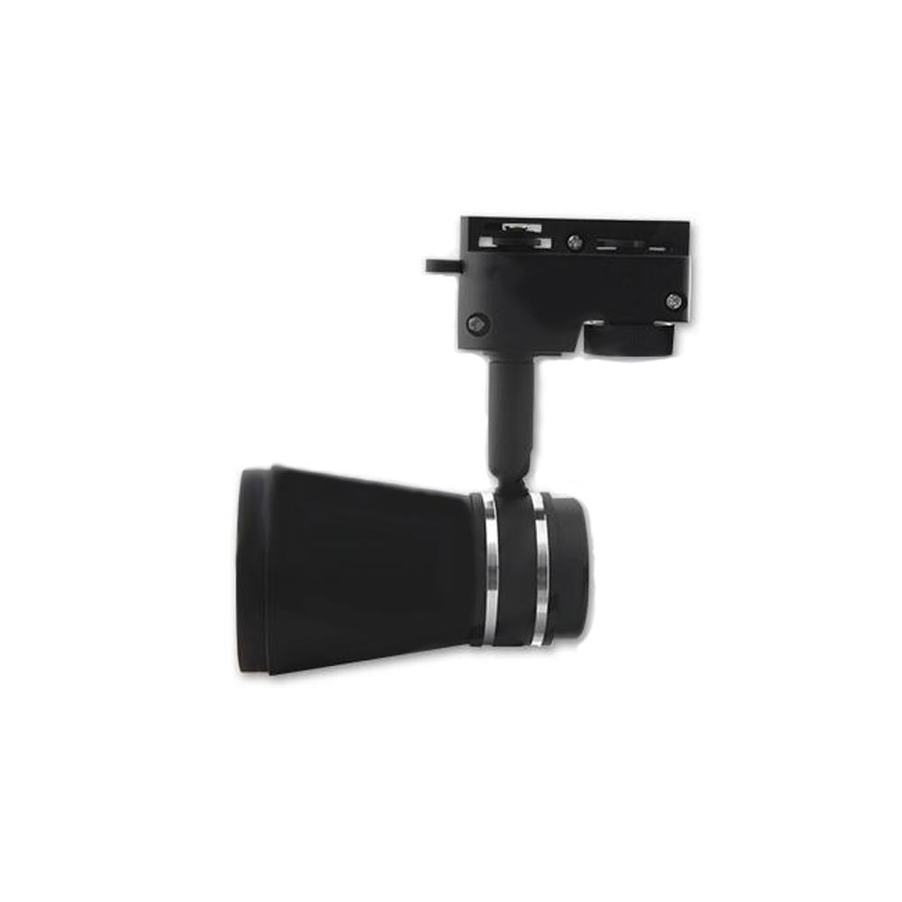 1-fase rail spot LED zwart wit GU10 fitting - zijaanzicht