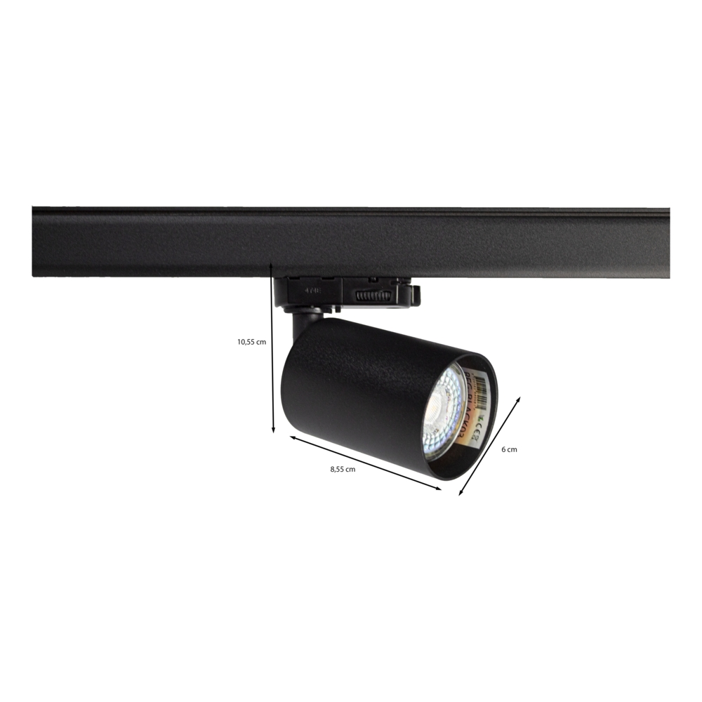 LED railspot 3-fase zwart inclusief GU10 fitting - afmetingen
