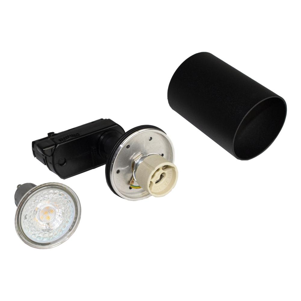 LED railspot 3-fase zwart inclusief GU10 fitting - onderdelen