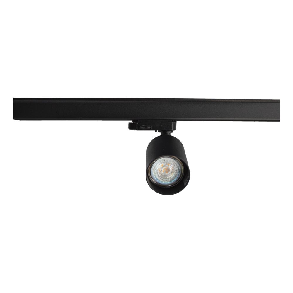 LED railspot 3-fase zwart inclusief GU10 fitting - spot vooraanzicht