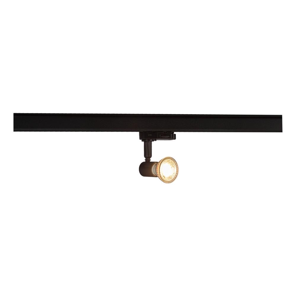 LED 3-fase railspot met GU10 fitting - zwart - dimbaar - kantelbaar - incl. GU10 spotje