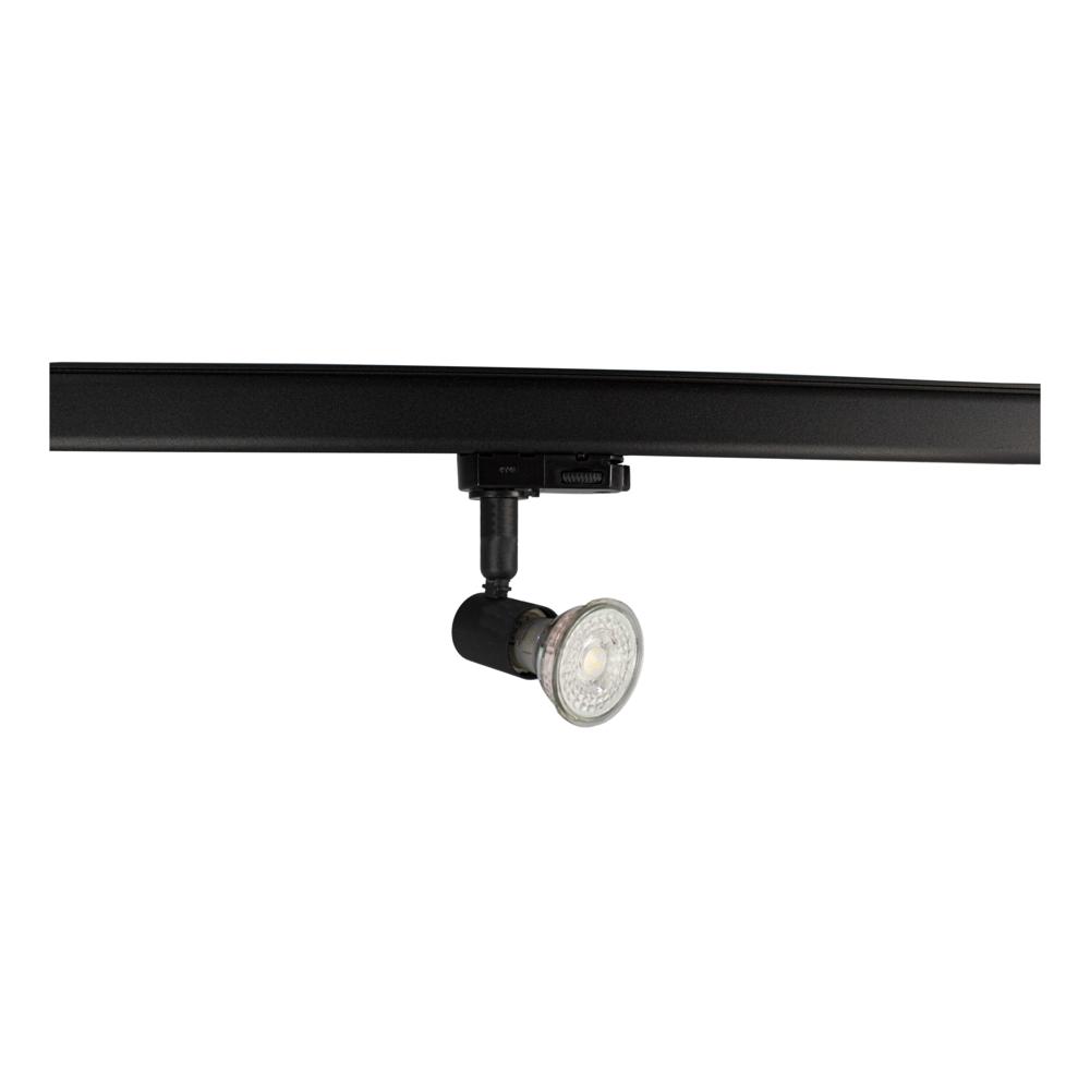LED 3-fase railspot met GU10 fitting - zwart - dimbaar - kantelbaar - incl. GU10 spotje (1)