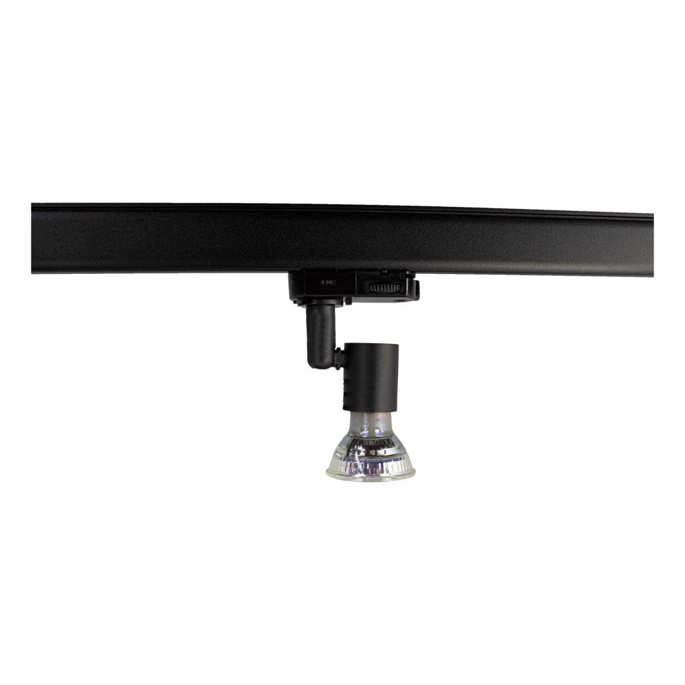 LED 3-fase railspot met GU10 fitting - zwart - dimbaar - kantelbaar naar beneden