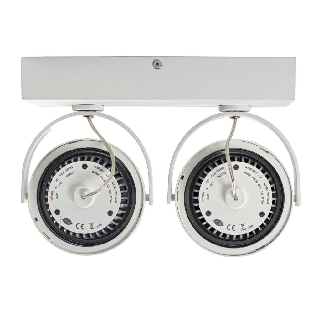 LED AR111 opbouwspot - WIT - 24 watt - kantelbaar - dimbaar - dim to warm - 2200K - vooraanzich - achterkant
