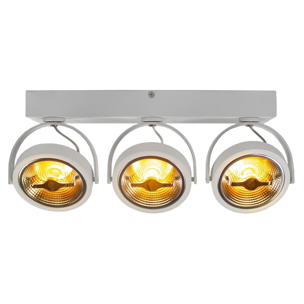LED AR111 opbouwspot - WIT - 36 watt - driedubbel - kantelbaar - dimbaar - Dim to warm - 2200K - vooraanzicht