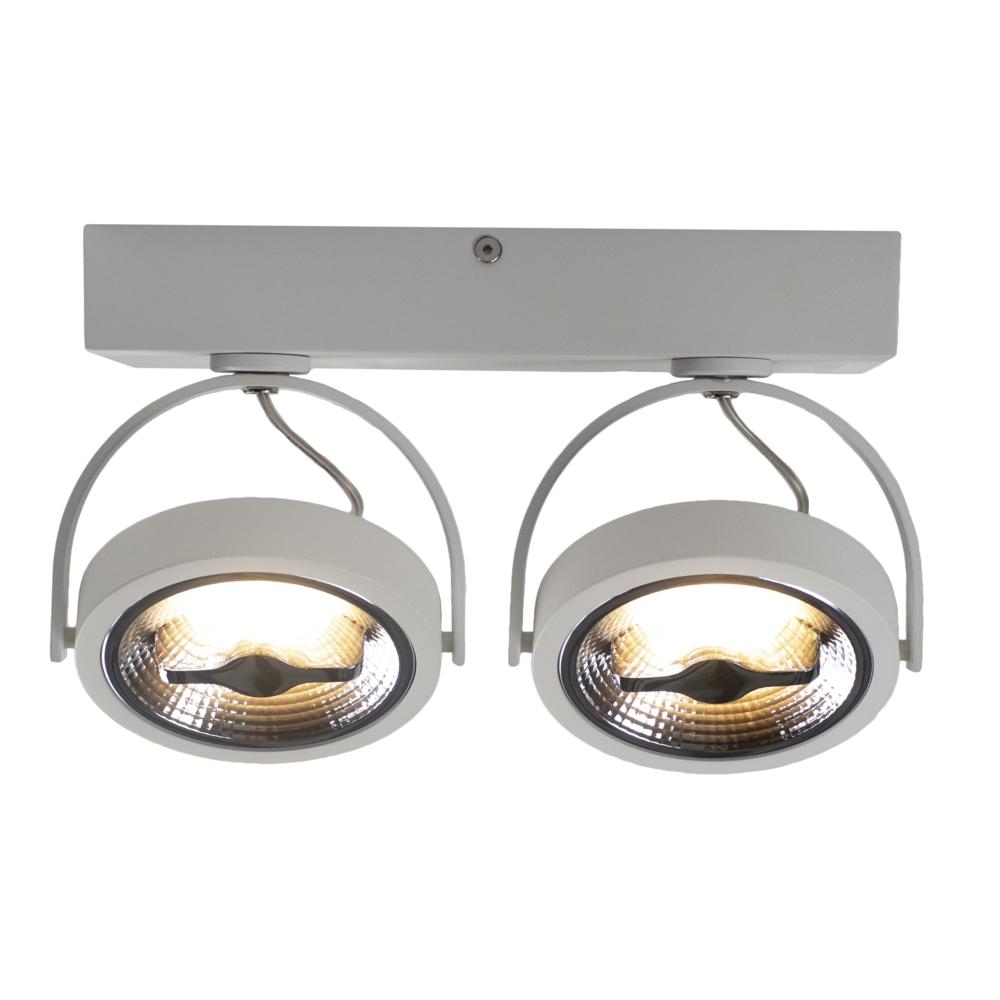 LED AR111 opbouwspot dubbel - WIT - 24 watt - kantelbaar - dimbaar - dim to warm - 2200K - 3000K