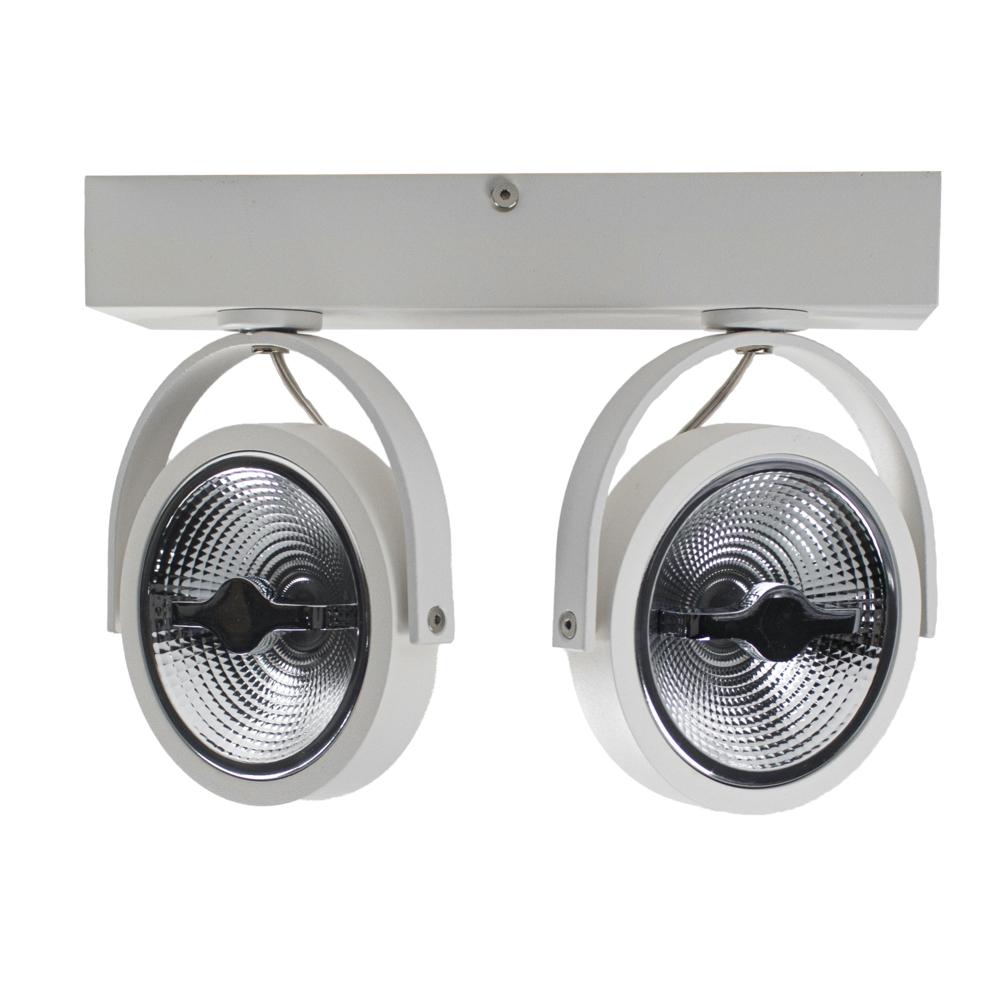 LED AR111 opbouwspot dubbel - WIT - 24 watt - kantelbaar - dimbaar - dim to warm - 2200K - 3000K gekanteld