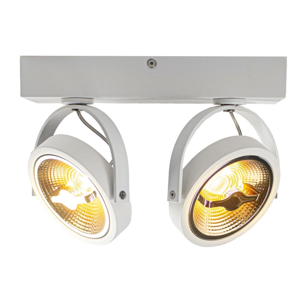 LED AR111 opbouwspot dubbel - WIT - 24 watt - kantelbaar - dimbaar - dim to warm - 2200K - vooraanzicht