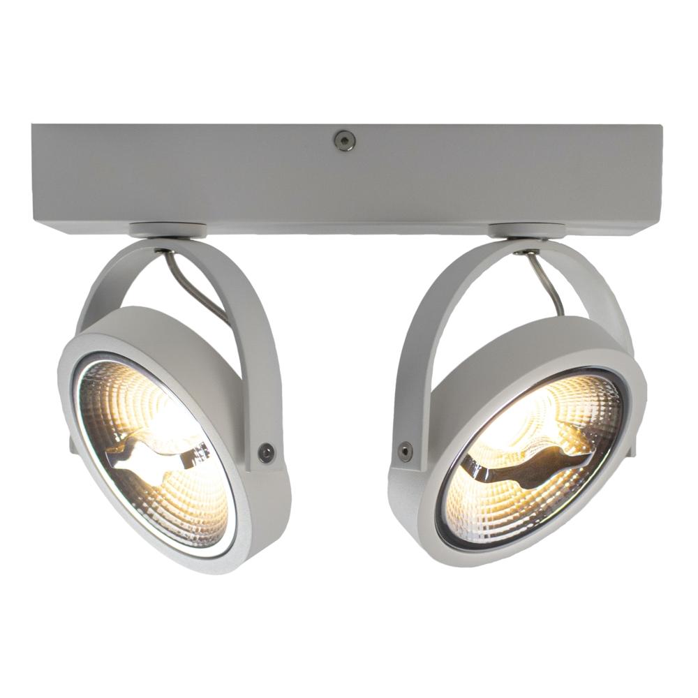 LED AR111 opbouwspot dubbel - WIT - 24 watt - kantelbaar - dimbaar - dim to warm - 3000K - vooraanzicht