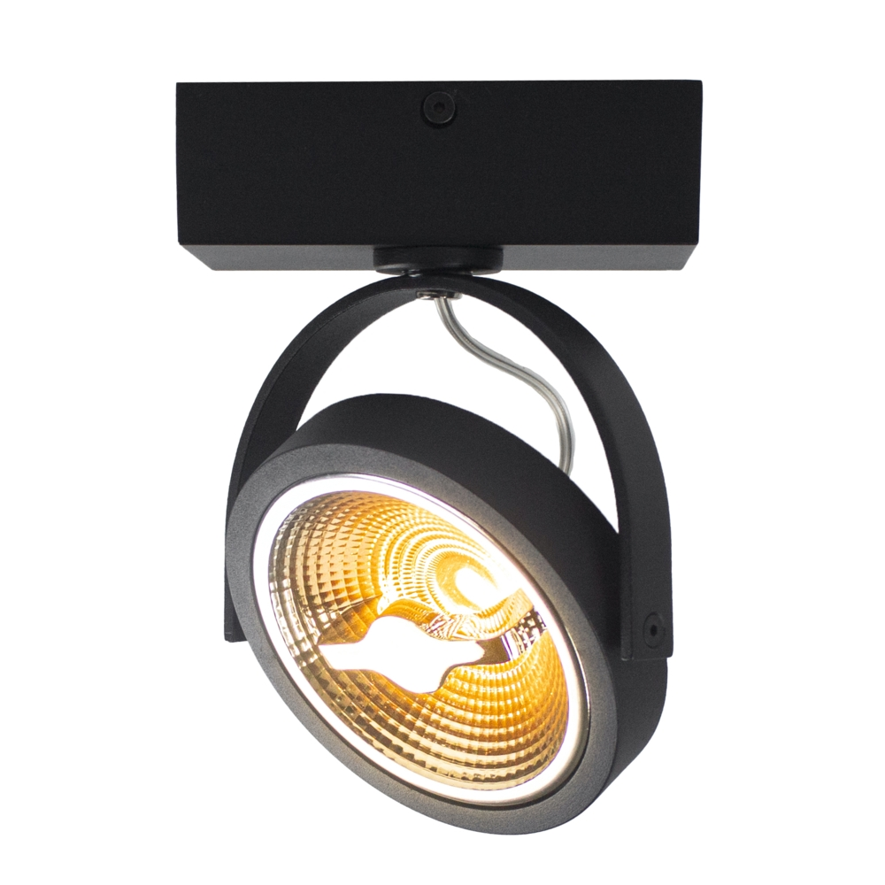 LED AR111 opbouwspot - enkel - zwart - 12 watt - dimbaar - dim to warm - 2200K