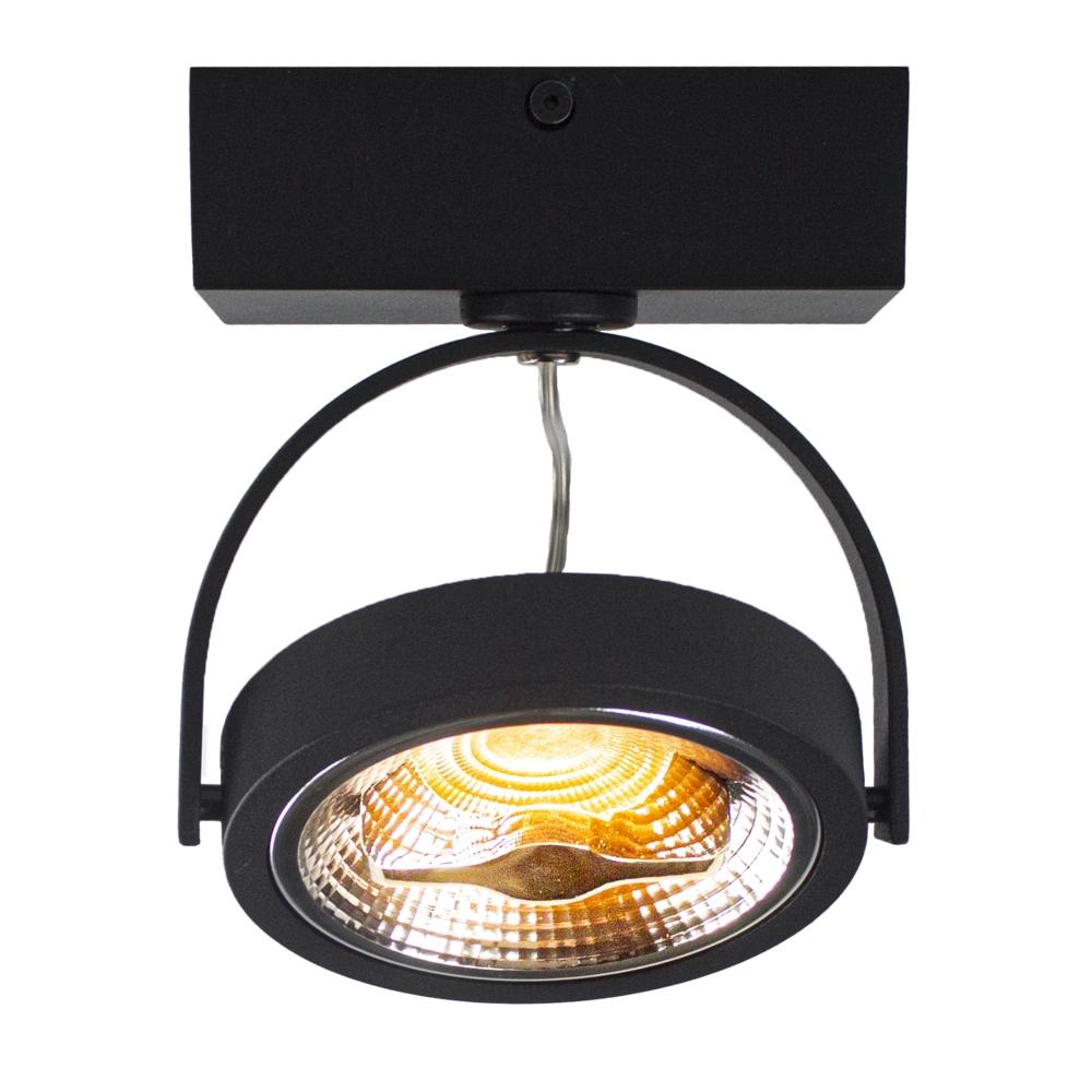 LED AR111 opbouwspot - enkel - zwart - 12 watt - dimbaar - dim to warm - 2200K - gekanteld