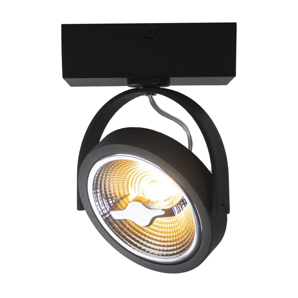 LED AR111 opbouwspot - enkel - zwart - 12 watt - dimbaar - dim to warm - 3000K