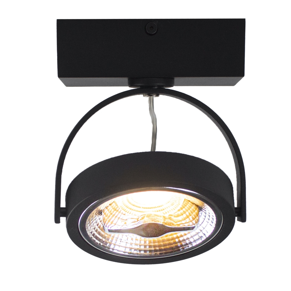 LED AR111 opbouwspot - enkel - zwart - 12 watt - dimbaar - dim to warm - 3000K - gekanteld