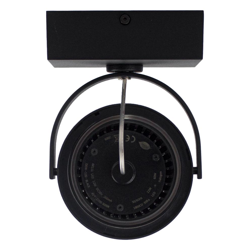 LED AR111 opbouwspot - enkel - zwart - 12 watt - dimbaar - dim to warm - achterkant