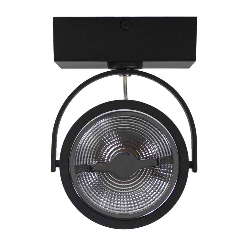 LED AR111 opbouwspot - enkel - zwart - 12 watt - dimbaar - dim to warm - voorkant
