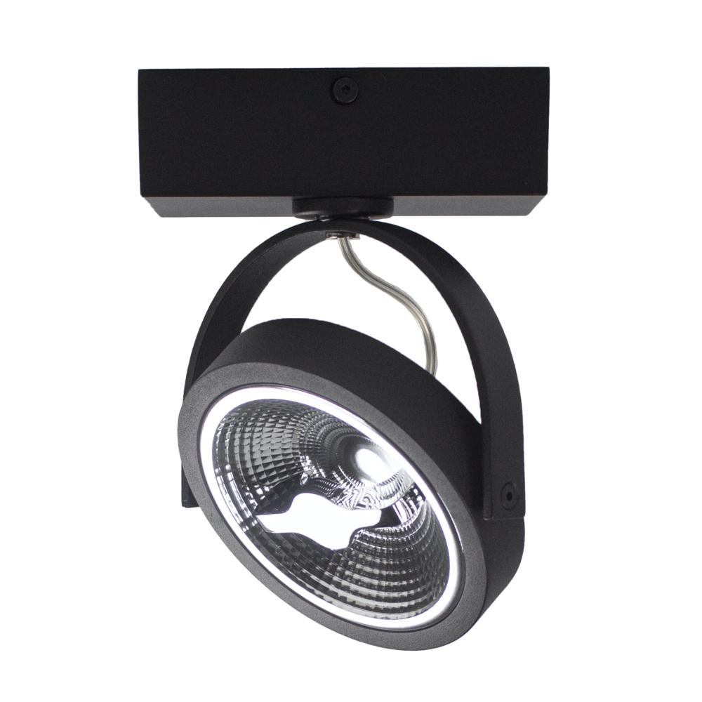 LED AR111 opbouwspot - enkel - zwart - 12 watt - dimbaar - dim to warm - zijkant