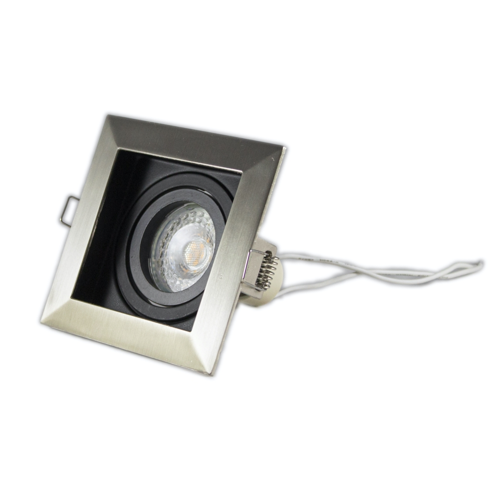Inbouwspot LED Zwart vierkant aluminium 12 Volt dimbaar - 4000K - armatuur liggend