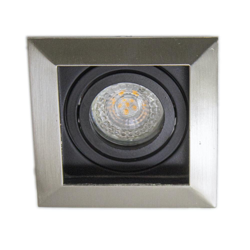 Inbouwspot LED Zwart vierkant aluminium 12 Volt dimbaar - 4000K - spot liggend