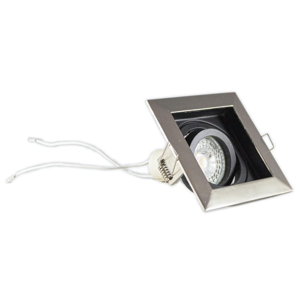 Inbouwspot LED Zwart vierkant aluminium 12 Volt dimbaar - 4000K - spot gekanteld