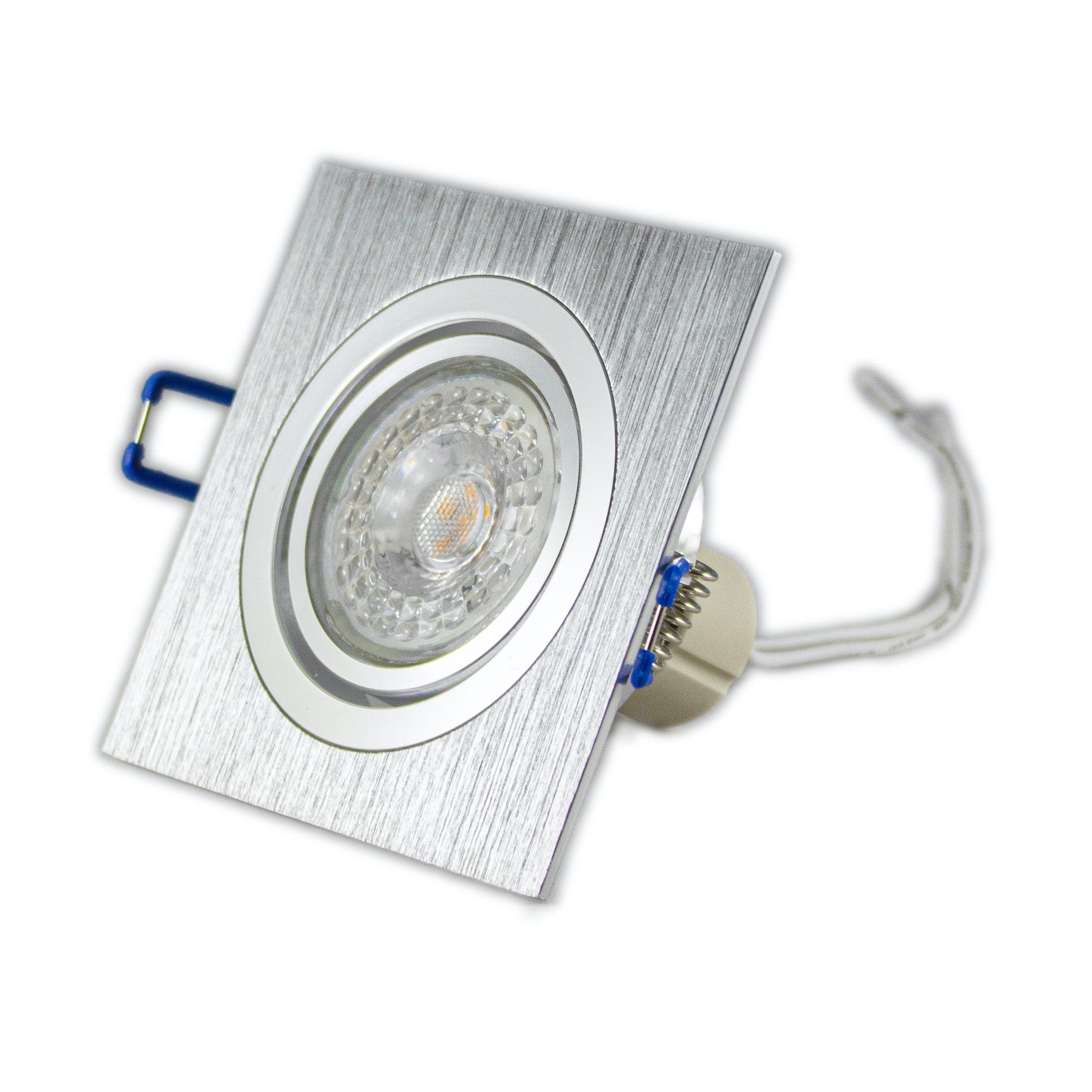 Led inbouwspot zilver vierkant 12 Volt dimbaar 4000K - armatuur gekanteld