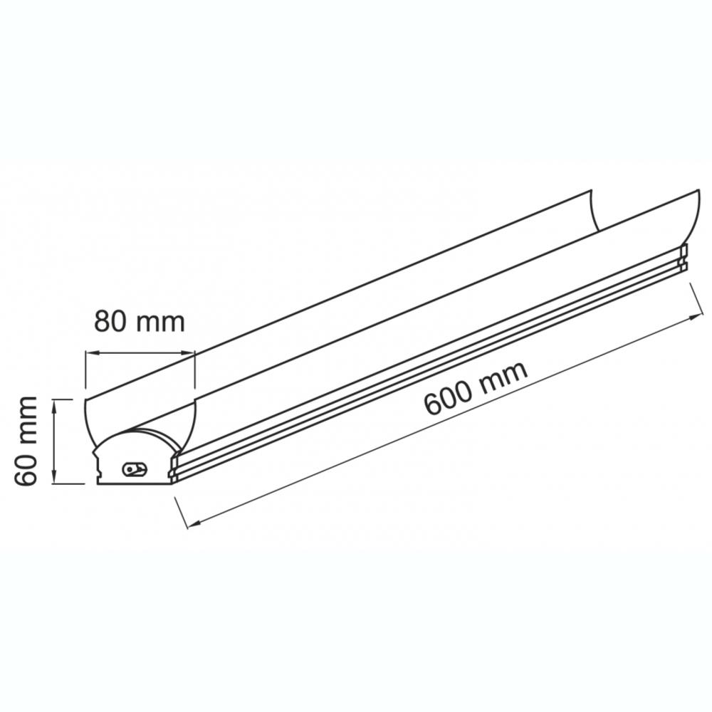 Complete batten LED T8 armatuur 60cm - 18 watt - 5000K Daglicht - reflector - afmetingen