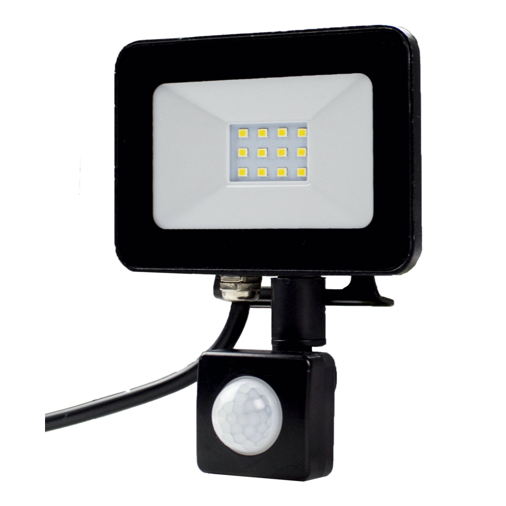 LED Bouwlamp met sensor - 10 watt - 4000K natural white - zijaanzicht