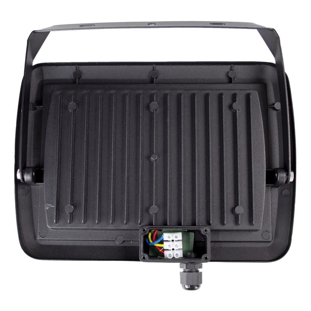 LED Bouwlamp 100 watt - zwart - kantelbaar - floodlight - breedstraler - 10.000 lumen - 4500K naturel wit - binnekant kabeldoos