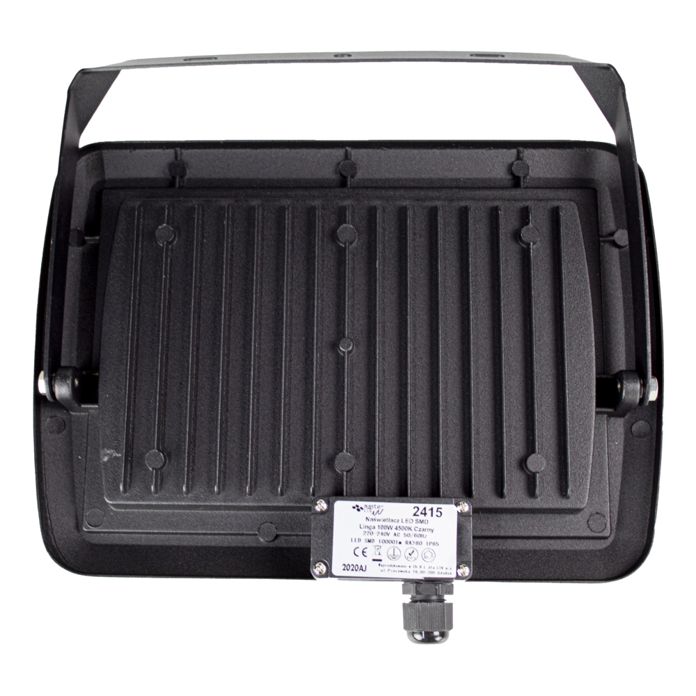 LED Bouwlamp 100 watt - zwart - kantelbaar - floodlight - breedstraler - 10.000 lumen - 4500K naturel wit - kabeldoos