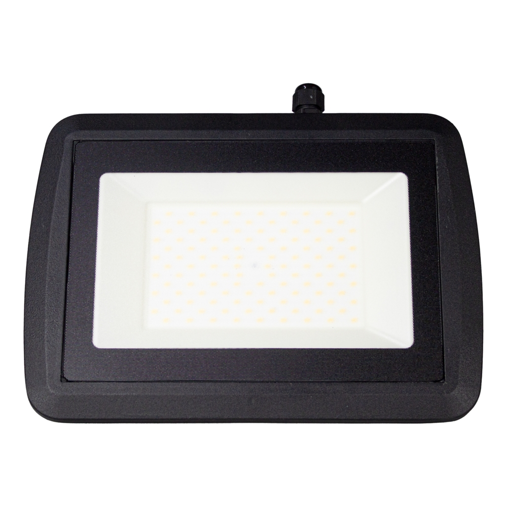 LED Bouwlamp 100 watt - zwart - kantelbaar - floodlight - breedstraler - 10.000 lumen - 4500K naturel wit - voorkant