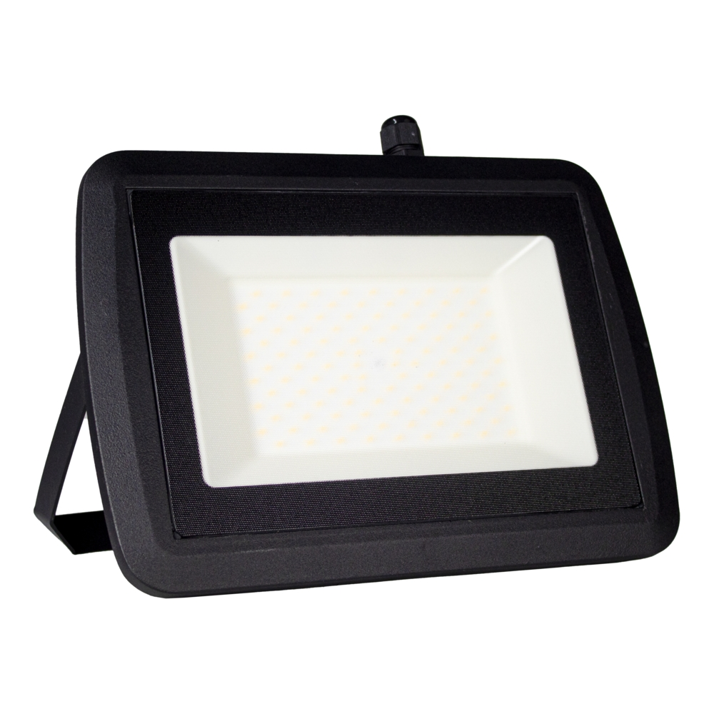 LED Bouwlamp 100 watt - zwart - kantelbaar - floodlight - breedstraler - 10.000 lumen - 4500K naturel wit - zijaanzicht