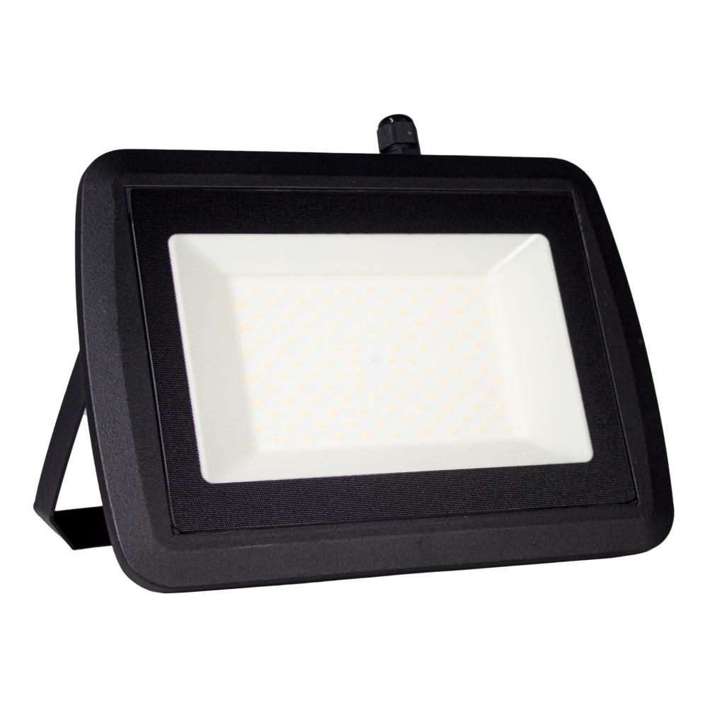 LED Bouwlamp 100 watt - zwart - kantelbaar - floodlight - breedstraler - 10.000 lumen - 4500K naturel wit - zijaanzicht
