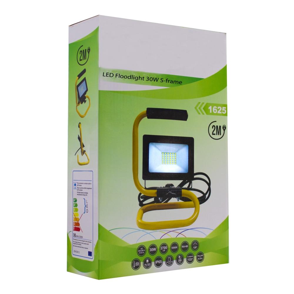 LED Bouwlamp 30 watt - op statief - s frame - met 2m kabel - floodlight - verstraler - verpakking