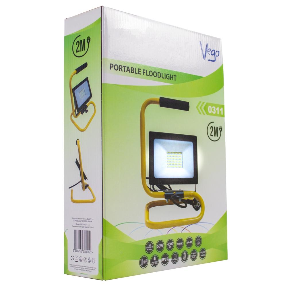LED Bouwlamp 50 watt - op statief - s frame - met 2m kabel - floodlight - verstraler - verpakking