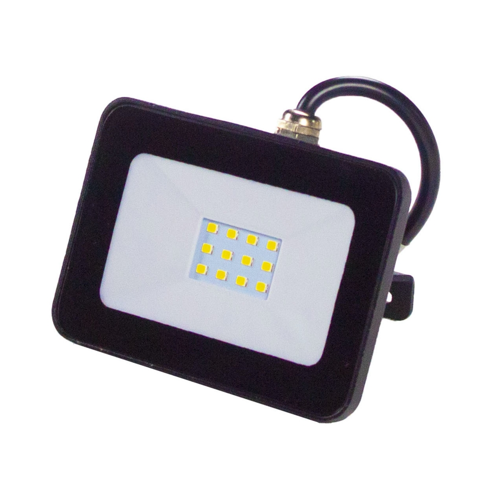 LED Floodlight - verstraler - breedstraler - bouwlamp - 10 watt - zwart - 4000K - voorkant