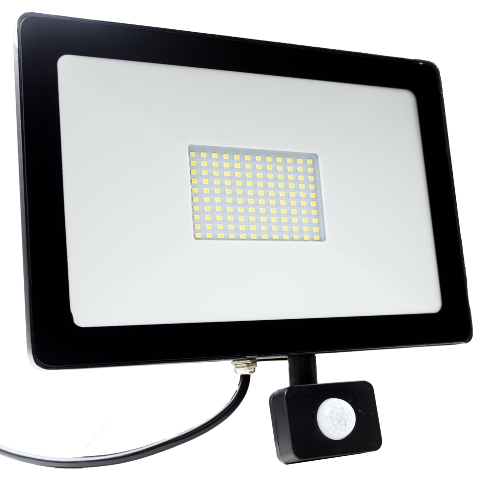 LED Floodlight - bouwlamp - verstraler - 100 watt - met sensor - 6500K daglicht - voorkant