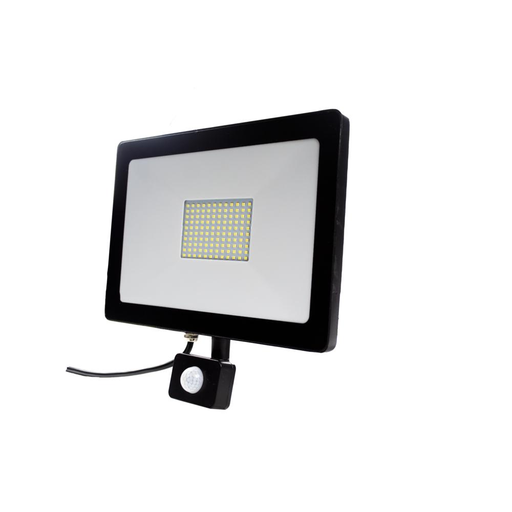LED Floodlight - bouwlamp - verstraler - 100 watt - met sensor - 6500K daglicht - zijkant