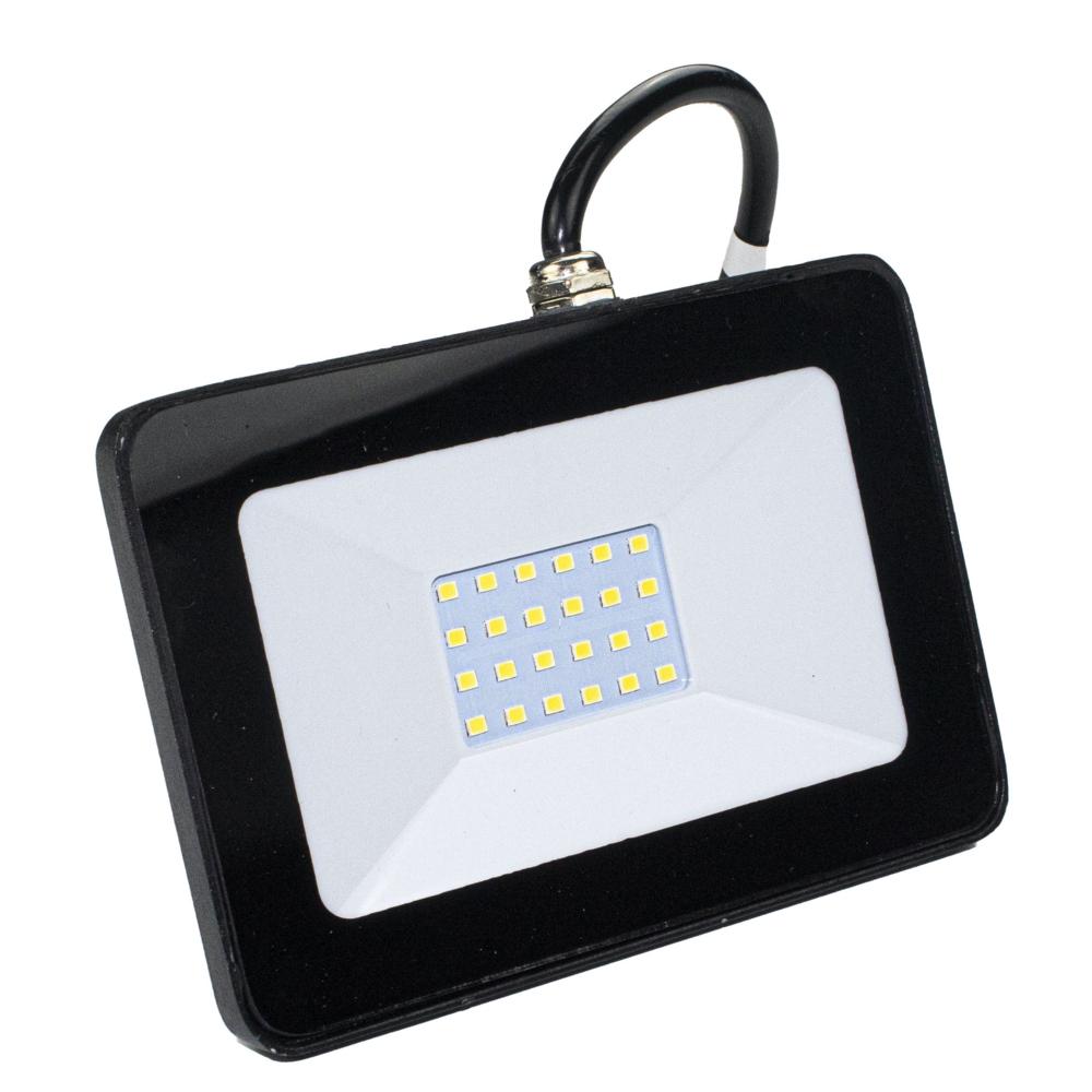LED Floodlight - breedstraler - verstraler - bouwlamp - 20 watt - 4000K naturel wit - zwart - voorkant