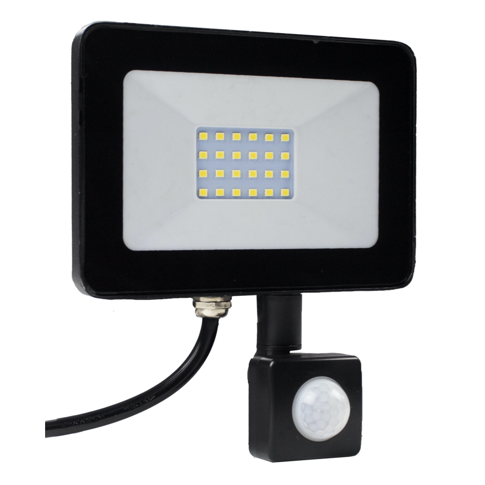 LED Bouwlamp - verstraler - floodlight - met sensor - 20 watt - 4000K natural white - voorkant